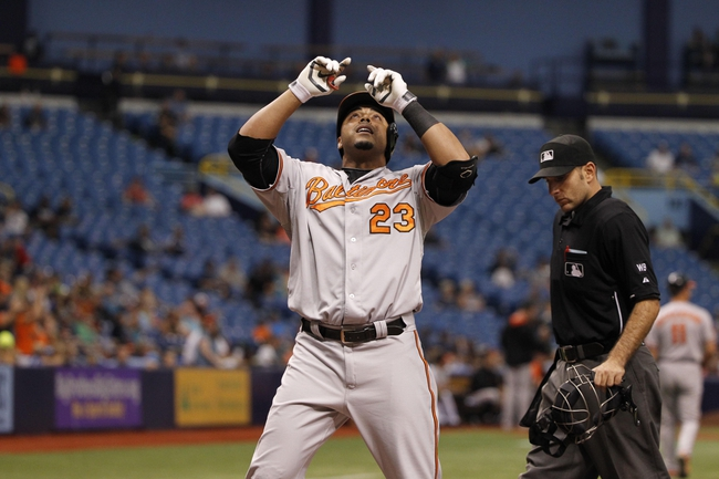 Jun 18, 2014; St. Petersburg, FL, USA; Baltimore Orioles left fielder Nelson Cruz (23) reacts at home plate after he homered during the eighth inning against the Tampa Bay Rays at Tropicana Field. Baltimore Orioles defeated the Tampa Bay Rays 2-0. Mandatory Credit: Kim Klement-USA TODAY Sports