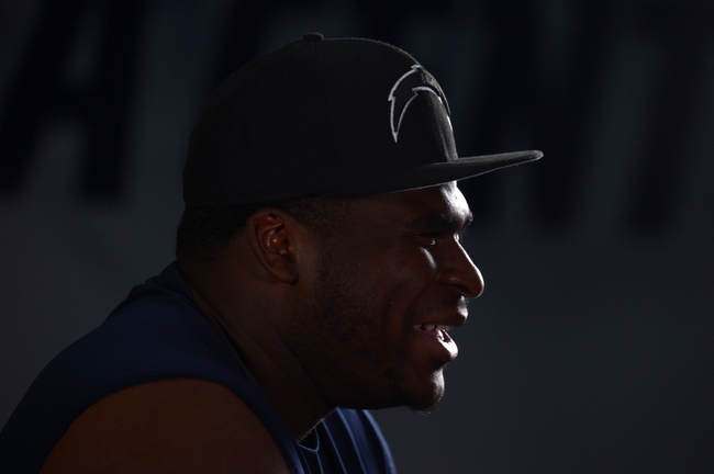 Jun 18, 2014; San Diego, CA, USA; San Diego Chargers tackle D.J. Fluker at minicamp at Chargers Park. Mandatory Credit: Kirby Lee-USA TODAY Sports