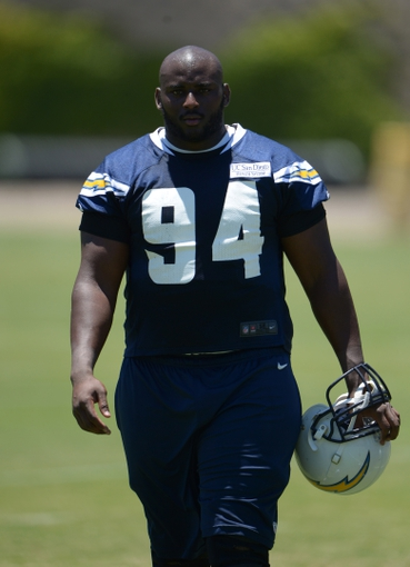 Jun 18, 2014; San Diego, CA, USA; San Diego Chargers defensive end Corey Liuget (94) at minicamp at Chargers Park. Mandatory Credit: Kirby Lee-USA TODAY Sports