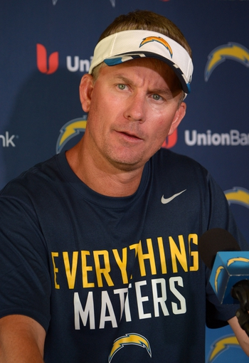 Jun 18, 2014; San Diego, CA, USA; San Diego Chargers coach Mike McCoy at minicamp press conference at Chargers Park. Mandatory Credit: Kirby Lee-USA TODAY Sports