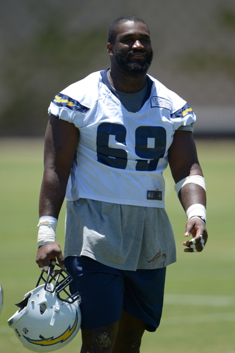 Jun 18, 2014; San Diego, CA, USA; San Diego Chargers tackle Willie Smith (69) at minicamp at Chargers Park. Mandatory Credit: Kirby Lee-USA TODAY Sports