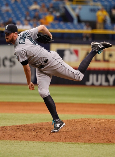 Jun 8, 2014; St. Petersburg, FL, USA; Seattle Mariners relief pitcher Charlie Furbush (41) throws a pitch against the Tampa Bay Rays at Tropicana Field. Seattle Mariners defeated the Tampa Bay Rays 5-0. Mandatory Credit: Kim Klement-USA TODAY Sports