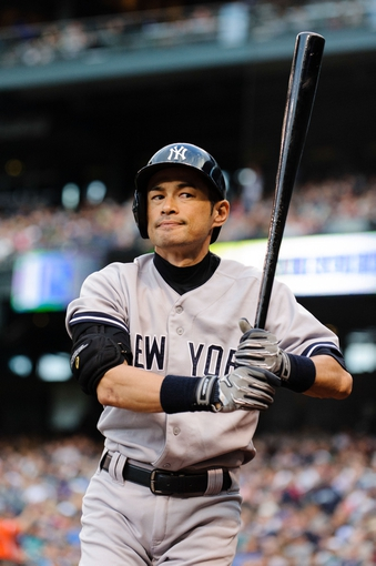Jun 10, 2014; Seattle, WA, USA; New York Yankees right fielder Ichiro Suzuki (31) during the game against the Seattle Mariners at Safeco Field. New York defeated Seattle 3-2. Mandatory Credit: Steven Bisig-USA TODAY Sports