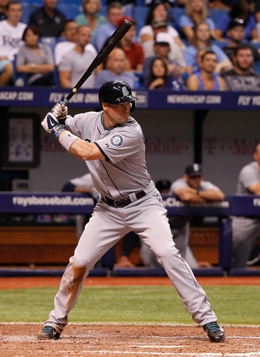 Jun 6, 2014; St. Petersburg, FL, USA; Seattle Mariners left fielder Cole Gillespie (16) at bat against the Tampa Bay Rays at Tropicana Field. Mandatory Credit: Kim Klement-USA TODAY Sports