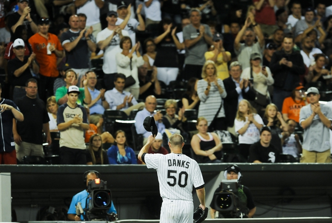 Jun 17, 2014; Chicago, IL, USA; Chicago White Sox starting pitcher John Danks (50) after he  pitches against the San Francisco Giants at U.S Cellular Field. Mandatory Credit: Matt Marton-USA TODAY Sports