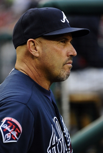Jun 21, 2014; Washington, DC, USA; Atlanta Braves manager Fredi Gonzalez in the dugout during the first inning against the Washington Nationals at Nationals Park. Mandatory Credit: Brad Mills-USA TODAY Sports