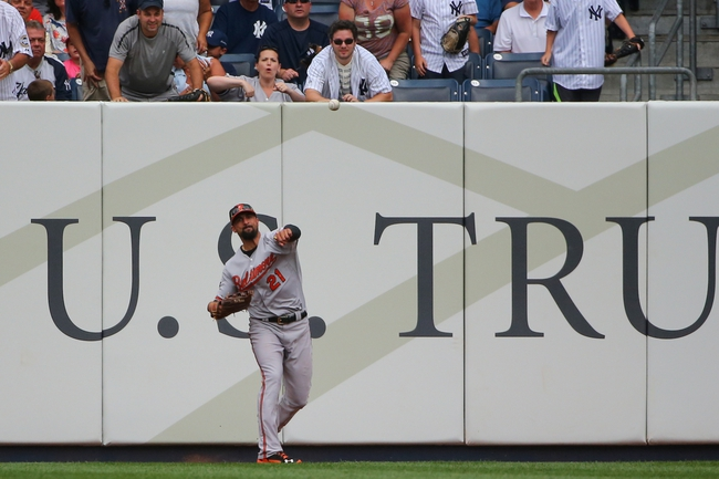Jun 22, 2014; Bronx, NY, USA;  Baltimore Orioles right fielder Nick Markakis (21) returns a ball during the fourth inning against the New York Yankees at Yankee Stadium. Mandatory Credit: Anthony Gruppuso-USA TODAY Sports