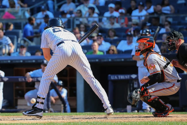 Jun 22, 2014; Bronx, NY, USA;  New York Yankees first baseman Mark Teixeira (25) is hit by a wild pitch thrown by Baltimore Orioles relief pitcher T.J. McFarland (not pictured) during the eighth inning at Yankee Stadium. Baltimore Orioles won 8-0. Mandatory Credit: Anthony Gruppuso-USA TODAY Sports