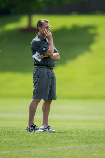 Jun 17, 2014; Eden Prairie, MN, USA; Minnesota Vikings general manager Rick Spielman watches practice at Winter Park. Mandatory Credit: Bruce Kluckhohn-USA TODAY Sports