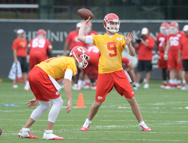Jun 17, 2014; Kansas City, MO, USA; Kansas City Chiefs quarterback Tyler Bray (9) throws passing drills during the Kansas City Chiefs minicamp at University of Kansas Hospital Training Complex. Mandatory Credit: Denny Medley-USA TODAY Sports