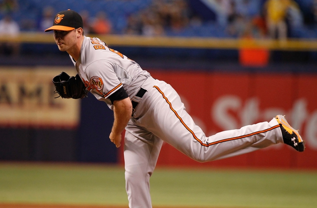 Jun 17, 2014; St. Petersburg, FL, USA; Baltimore Orioles relief pitcher Zach Britton (53) throws a pitch during the ninth inning against the Tampa Bay Rays at Tropicana Field. Baltimore Orioles defeated the Tampa Bay Rays 7-5. Mandatory Credit: Kim Klement-USA TODAY Sports