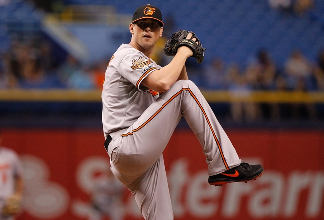 Jun 17, 2014; St. Petersburg, FL, USA; Baltimore Orioles relief pitcher Brian Matusz (17) throws a pitch against the Tampa Bay Rays at Tropicana Field. Mandatory Credit: Kim Klement-USA TODAY Sports