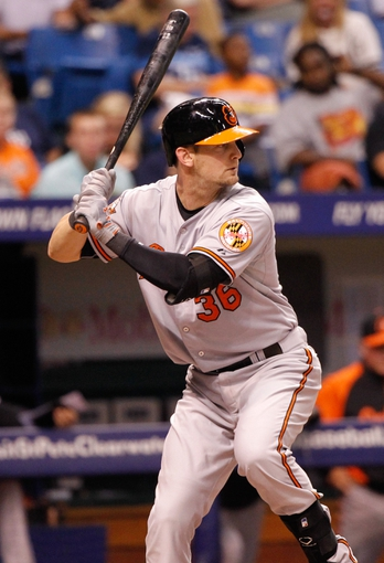 Jun 17, 2014; St. Petersburg, FL, USA; Baltimore Orioles catcher Caleb Joseph (36) at bat against the Tampa Bay Rays at Tropicana Field. Mandatory Credit: Kim Klement-USA TODAY Sports