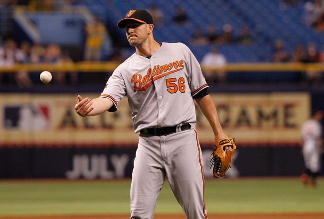 Jun 17, 2014; St. Petersburg, FL, USA; Baltimore Orioles relief pitcher Darren O'Day (56) against the Tampa Bay Rays at Tropicana Field. Baltimore Orioles defeated the Tampa Bay Rays 7-5. Mandatory Credit: Kim Klement-USA TODAY Sports