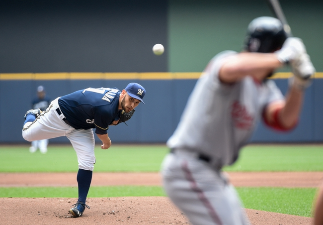 Jun 25, 2014; Milwaukee, WI, USA;  Milwaukee Brewers pitcher Marco Estrada (41) pitches to Washington Nationals left fielder Kevin Frandsen (19) in the first inning at Miller Park. Mandatory Credit: Benny Sieu-USA TODAY Sports