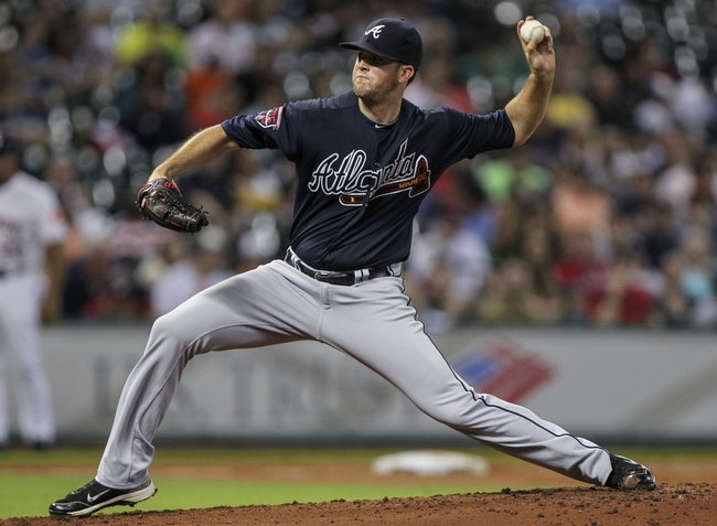 Jun 25, 2014; Houston, TX, USA; Atlanta Braves relief pitcher Alex Wood (40) pitches during the second inning against the Houston Astros at Minute Maid Park. Mandatory Credit: Troy Taormina-USA TODAY Sports