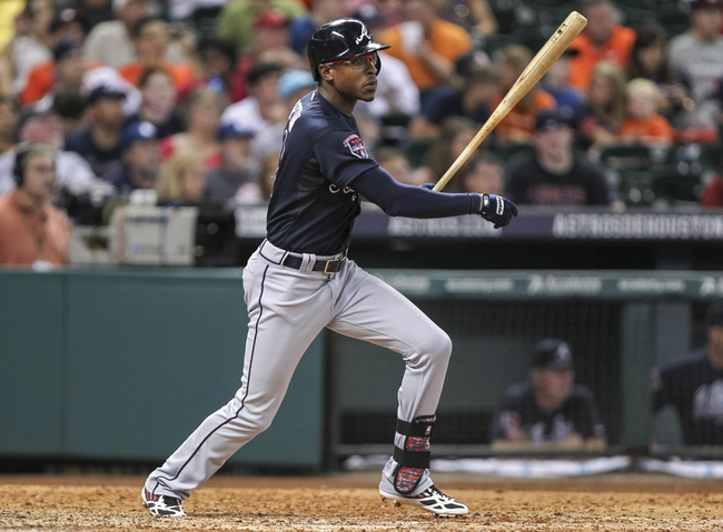 Jun 25, 2014; Houston, TX, USA; Atlanta Braves center fielder B.J. Upton (2) hits a double during the eighth inning against the Houston Astros at Minute Maid Park. Mandatory Credit: Troy Taormina-USA TODAY Sports