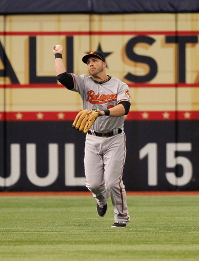 Jun 18, 2014; St. Petersburg, FL, USA; Baltimore Orioles first baseman Steve Pearce (28) throws the ball against the Tampa Bay Rays at Tropicana Field. Mandatory Credit: Kim Klement-USA TODAY Sports