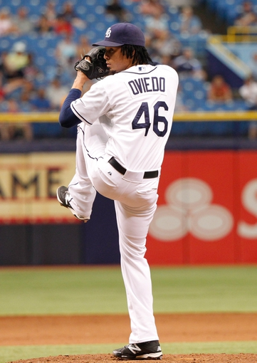 Jun 18, 2014; St. Petersburg, FL, USA; Tampa Bay Rays relief pitcher Juan Carlos Oviedo (46) throws a pitch against the Baltimore Orioles at Tropicana Field. Baltimore Orioles defeated the Tampa Bay Rays 2-0. Mandatory Credit: Kim Klement-USA TODAY Sports