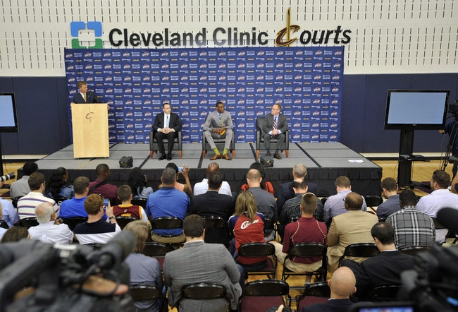 Jun 27, 2014; Independence, OH, USA; Cleveland Cavaliers head coach David Blatt (left), first round pick Andrew Wiggins (center) and general manager David Griffin speak to the media and fans at Cleveland Clinic Courts. Mandatory Credit: David Richard-USA TODAY Sports
