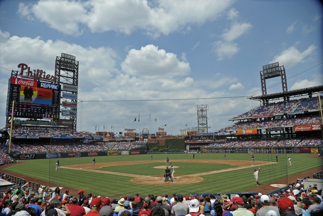 Jun 29, 2014; Philadelphia, PA, USA; A general view of game between Philadelphia Phillies and against the Atlanta Braves at Citizens Bank Park. Mandatory Credit: Eric Hartline-USA TODAY Sports