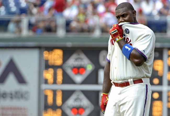 Jun 29, 2014; Philadelphia, PA, USA; Philadelphia Phillies first baseman Ryan Howard (6) reacts after grounding into a inning ending double play in the the seventh inning against the Atlanta Braves at Citizens Bank Park. The Braves won 3-2. Mandatory Credit: Eric Hartline-USA TODAY Sports