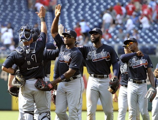 Jun 29, 2014; Philadelphia, PA, USA; Atlanta Braves left fielder Justin Upton (8) celebrates with teammates after defeating the Philadelphia Phillies 3-2 at Citizens Bank Park. Mandatory Credit: Eric Hartline-USA TODAY Sports