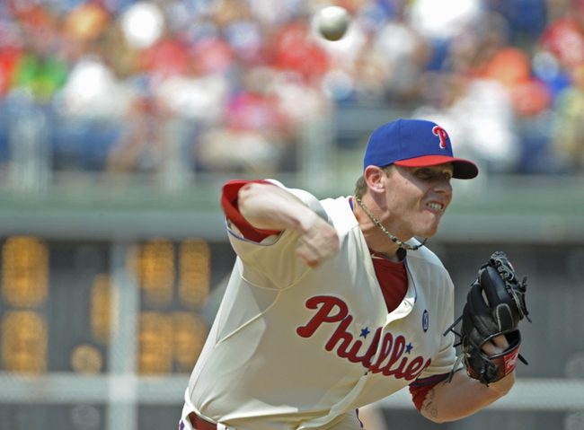Jun 29, 2014; Philadelphia, PA, USA; Philadelphia Phillies relief pitcher Justin De Fratus (30) throws pitch in the sixth inning against the Atlanta Braves at Citizens Bank Park. The Braves won 3-2. Mandatory Credit: Eric Hartline-USA TODAY Sports