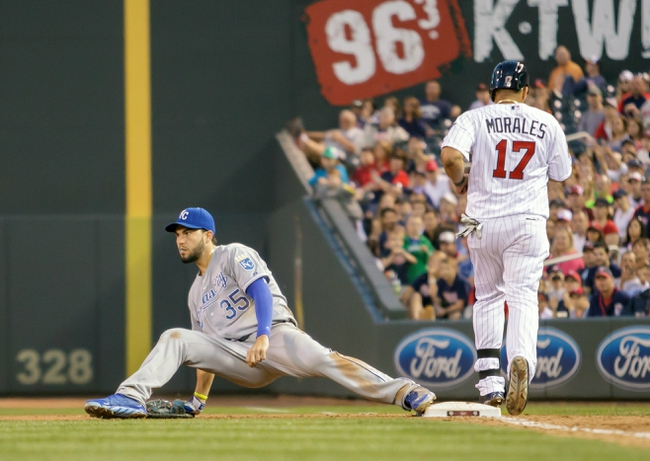 Jun 30, 2014; Minneapolis, MN, USA; Kansas City Royals first baseman Eric Hosmer (35) stays on first for the out in the sixth inning against the Minnesota Twins designated hitter Kendrys Morales (17) at Target Field. The Kansas City Royals win 6-1. Mandatory Credit: Brad Rempel-USA TODAY Sports
