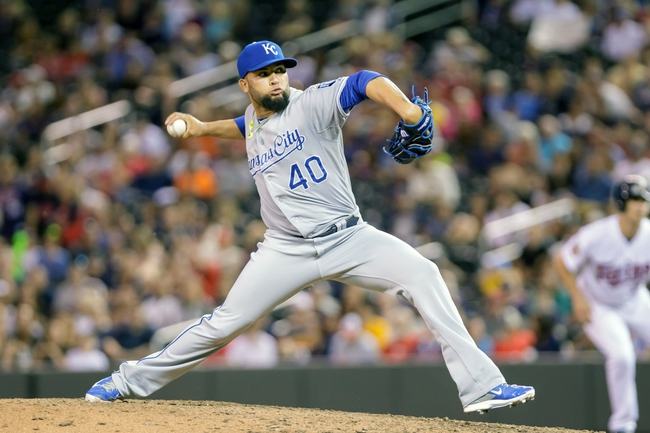 Jun 30, 2014; Minneapolis, MN, USA; Kansas City Royals relief pitcher Kelvin Herrera (40) pitches in the eighth inning against the Minnesota Twins at Target Field. The Kansas City Royals win 6-1. Mandatory Credit: Brad Rempel-USA TODAY Sports