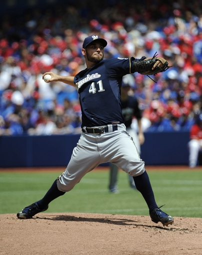 Jul 1, 2014; Toronto, Ontario, CAN; Milwaukee Brewers starting pitcher Marco Estrada throws a pitch against the Toronto Blue Jays during the game at Rogers Centre. Mandatory Credit: Peter Llewellyn-USA TODAY Sports