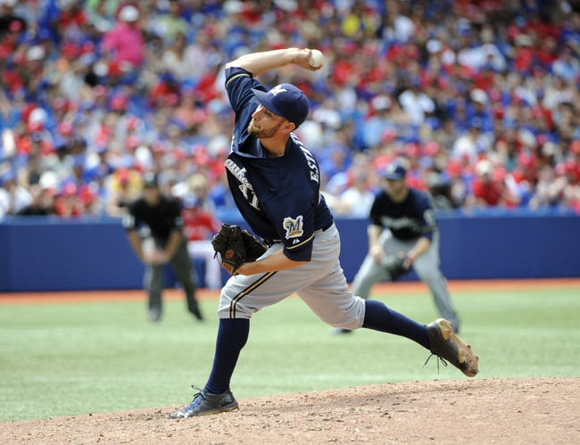 Jul 1, 2014; Toronto, Ontario, CAN; Milwaukee Brewers starting pitcher Marco Estrada throws against the Toronto Blue Jays at Rogers Centre. Mandatory Credit: Peter Llewellyn-USA TODAY Sports