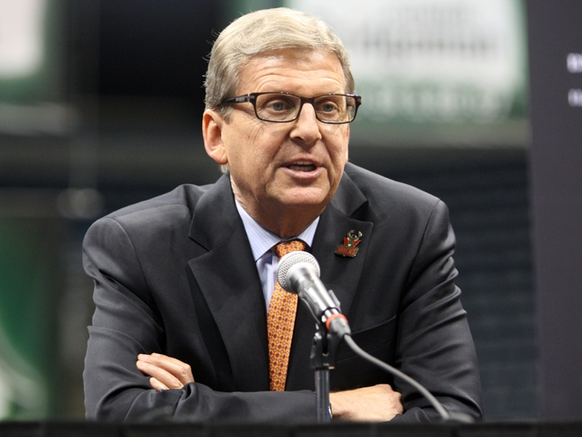 Jul 2, 2014; Milwaukee, WI, USA; Milwaukee Bucks general manager John Hammond speaks to the press during a news conference featuring new head coach Jason Kidd at the BMO Harris Bradley Center. Mandatory Credit: Mary Langenfeld-USA TODAY Sports