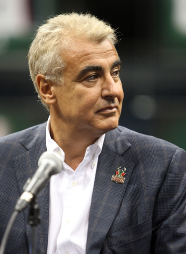 Jul 2, 2014; Milwaukee, WI, USA; Milwaukee Bucks co-owner Marc Lasry during a news conference featuring new head coach Jason Kidd at the BMO Harris Bradley Center. Mandatory Credit: Mary Langenfeld-USA TODAY Sports