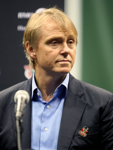 Jul 2, 2014; Milwaukee, WI, USA; Milwaukee Bucks co-owner Wesley Edens during a news conference featuring new head coach Jason Kidd at the BMO Harris Bradley Center. Mandatory Credit: Mary Langenfeld-USA TODAY Sports
