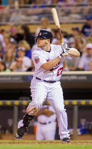 Jun 30, 2014; Minneapolis, MN, USA; Minnesota Twins right fielder Chris Parmelee (27) at bat against the Kansas City Royals at Target Field. Mandatory Credit: Brad Rempel-USA TODAY Sports