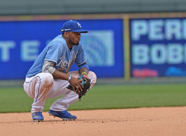 Jun 29, 2014; Kansas City, MO, USA; Kansas City Royals shortstop Alcides Escobar (2) looks on from the infield against the Los Angeles Angels during the eighth inning at Kauffman Stadium. Mandatory Credit: Peter G. Aiken-USA TODAY Sports