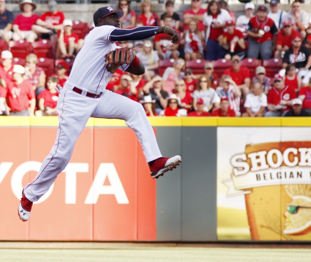 Jul 4, 2014; Cincinnati, OH, USA; Cincinnati Reds second baseman Brandon Phillips throws to first to get out Milwaukee Brewers first baseman Lyle Overbay (not pictured) during the first inning at Great American Ball Park. Mandatory Credit: David Kohl-USA TODAY Sports