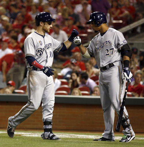 Jul 4, 2014; Cincinnati, OH, USA; Milwaukee Brewers catcher Jonathan Lucroy (20) is congratulated by center fielder Carlos Gomez (27) after Lucroy hit a solo home run off Cincinnati Reds starting pitcher Alfredo Simon (not pictured) during the eighth inning at Great American Ball Park. The Reds won 4-2. Mandatory Credit: David Kohl-USA TODAY Sports