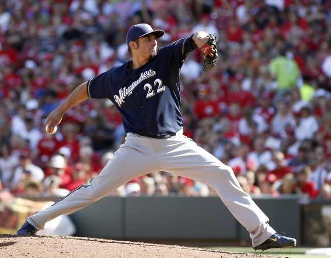 Jul 5, 2014; Cincinnati, OH, USA; Milwaukee Brewers starting pitcher Matt Garza throws against the Cincinnati Reds during the fifth inning at Great American Ball Park. The Brewers won 1-0. Mandatory Credit: David Kohl-USA TODAY Sports
