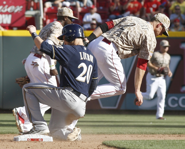Jul 5, 2014; Cincinnati, OH, USA; Milwaukee Brewers catcher Jonathan Lucroy (20) is forced out at second under Cincinnati Reds shortstop Zack Cozart (2) during the eighth inning at Great American Ball Park. The Brewers won 1-0. Mandatory Credit: David Kohl-USA TODAY Sports