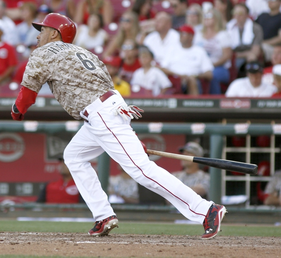 Jul 5, 2014; Cincinnati, OH, USA; Cincinnati Reds center fielder Billy Hamilton bats in the ninth inning against the Milwaukee Brewers at Great American Ball Park. The Brewers won 1-0. Mandatory Credit: David Kohl-USA TODAY Sports
