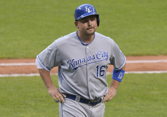 Jul 5, 2014; Cleveland, OH, USA; Kansas City Royals designated hitter Billy Butler (16) reacts after getting thrown out at third base in the fourth inning against the Cleveland Indians at Progressive Field. Mandatory Credit: David Richard-USA TODAY Sports