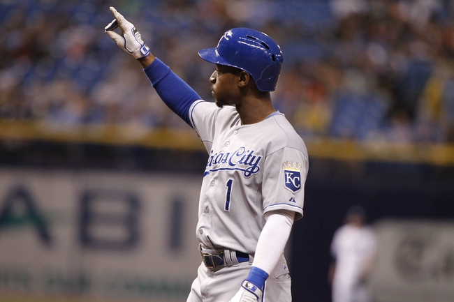 Jul 7, 2014; St. Petersburg, FL, USA; Kansas City Royals center fielder Jarrod Dyson (1) points to the dugout after he singled during the eighth inning against the Tampa Bay Rays at Tropicana Field. Mandatory Credit: Kim Klement-USA TODAY Sports