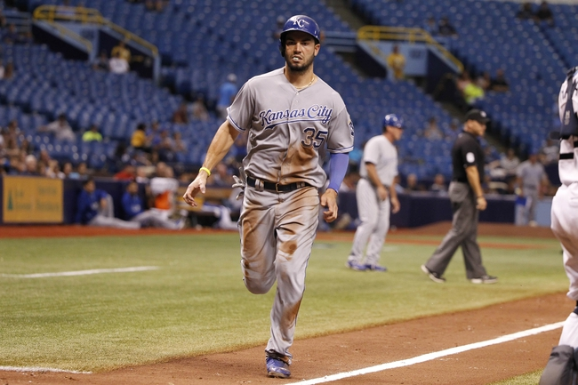 Jul 7, 2014; St. Petersburg, FL, USA; Kansas City Royals first baseman Eric Hosmer (35) scores a run during the ninth inning against the Tampa Bay Rays at Tropicana Field. Kansas City Royals defeated the Tampa Bay Rays 6-0.  Mandatory Credit: Kim Klement-USA TODAY Sports