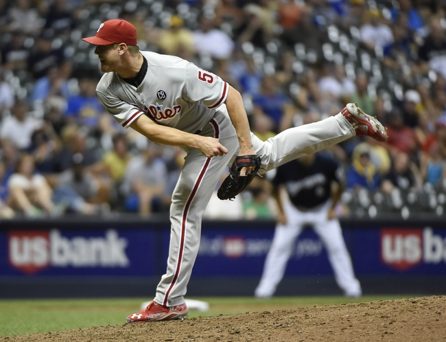 Jul 7, 2014; Milwaukee, WI, USA;   Philadelphia Phillies pitcher Jonathan Papelbon (58) pitches in the ninth inning against the Milwaukee Brewers to earn a save at Miller Park. The Phillies beat the Brewers 3-2. Mandatory Credit: Benny Sieu-USA TODAY Sports