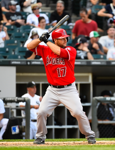 Jul 1, 2014; Chicago, IL, USA; Los Angeles Angels catcher Chris Iannetta (17) during the ninth inning at U.S Cellular Field. Los Angeles Angels defeat the Chicago White Sox 8-4. Mandatory Credit: Mike DiNovo-USA TODAY Sports