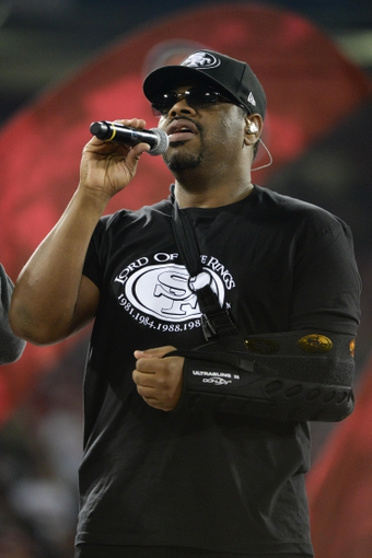 December 23, 2013; San Francisco, CA, USA; Musical group Boyz II Men member Nathan Morris performs after the final regular season game at Candlestick Park between the San Francisco 49ers and the Atlanta Falcons. The 49ers defeated the Falcons 34-24. Mandatory Credit: Kyle Terada-USA TODAY Sports