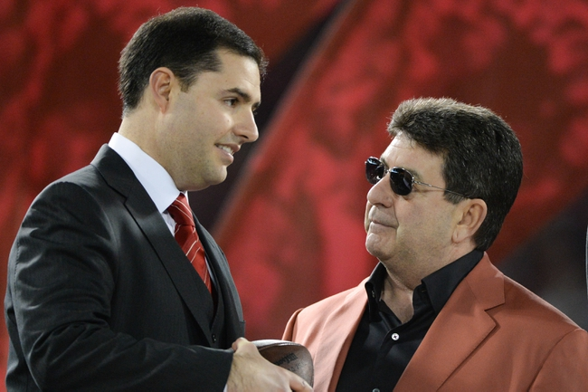 December 23, 2013; San Francisco, CA, USA; San Francisco 49ers former owner Eddie DeBartolo Jr. (right) and chief executive officer Jed York (left) after the final regular season game at Candlestick Park against the Atlanta Falcons. The 49ers defeated the Falcons 34-24. Mandatory Credit: Kyle Terada-USA TODAY Sports