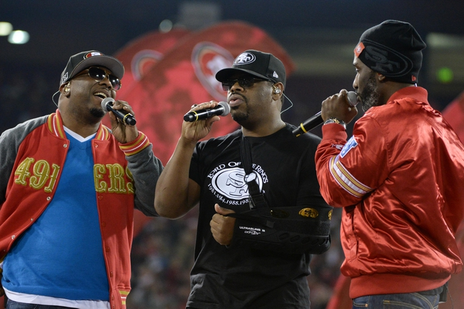 December 23, 2013; San Francisco, CA, USA; Musical group Boyz II Men members Wanya Morris (left), Nathan Morris (center), and Shawn Stockman (right) perform after the final regular season game at Candlestick Park between the San Francisco 49ers and the Atlanta Falcons. The 49ers defeated the Falcons 34-24. Mandatory Credit: Kyle Terada-USA TODAY Sports